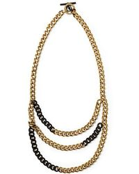 Michael Kors Twotone Multirow Chain Necklace - Lyst