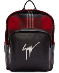 Giuseppe Zanotti Red Plaid Wool Backpack red - Lyst
