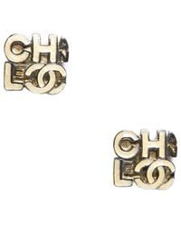 Chanel Pre-Owned Ivory Logo Vintage Clip On Earrings - Lyst