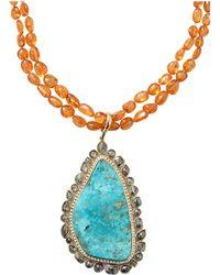 Pamela Huizenga - Turquoise Pendant With Garnet Nugget Chain - Lyst