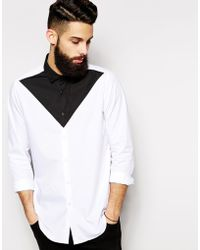 Asos Smart Shirt in Long Sleeves with Triangle Cut and Sew - Lyst