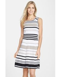 Marc New York By Andrew Marc Striped Cotton Fit and Flare Dress - Lyst
