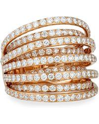 Bessa | 18k Rose Gold Multi-row Diamond Ring | Lyst