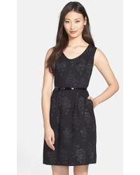Ellen Tracy Women'S Rose Jacquard Sleeveless Fit & Flare Dress - Lyst