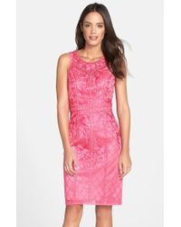 Sue Wong Sleeveless Embroidered Tulle Dress - Lyst
