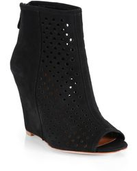 Rebecca Minkoff Suede Peep-Toe Wedge Ankle Boots - Lyst