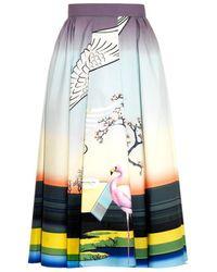 Mary Katrantzou Bowles Flamingo-Print Midi Skirt - Lyst