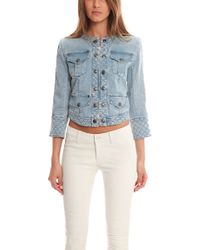 Balmain Cropped Denim Jacket - Lyst