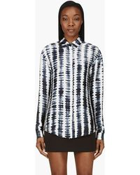 Anthony Vaccarello Blue and White Shibori Honecomb Blouse - Lyst