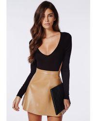 Missguided Long Sleeve Backless Bodysuit Black - Lyst