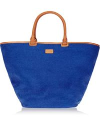 Emilio Pucci Leather-Trimmed Straw Tote - Lyst