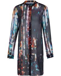 McQ by Alexander McQueen Black Silk Long Sleeve Print Shirt Dress - Lyst