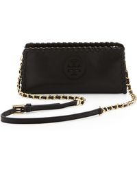 Tory Burch Marion Whipstitch Crossbody Clutch Bag Black - Lyst