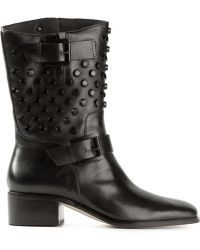 MICHAEL Michael Kors Studded Buckled Low Chunky Heel Boots - Lyst