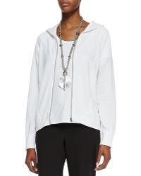 Eileen Fisher Organic-cotton Hooded-wedge Cardigan - Lyst