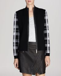 Karen Millen Jacket - Check Sleeve Wool Collection - Lyst