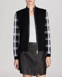 Karen Millen Jacket - Check Sleeve Wool Collection - Lyst