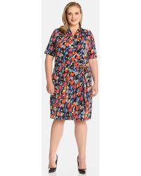 Karen Kane Print Cascade Faux Wrap Dress - Lyst