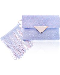 Sara Battaglia Blue Jeans Stud Medium Teresa Clutch - Lyst