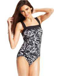 Inc International Concepts Printed Ruched One-Piece Swimsuit - Lyst