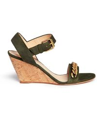 Giuseppe Zanotti 'Coline' Curb Chain Cork Wedge Suede Sandals - Lyst