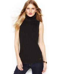 Michael Kors Michael Sleeveless Turtleneck Sweater - Lyst