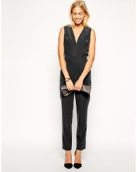 Asos Jumpsuit In Soft Touch Fabric With V Neck Detail - Lyst