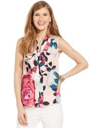 Cece by Cynthia Steffe - Sleeveless Tie-neck Floral Blouse - Lyst