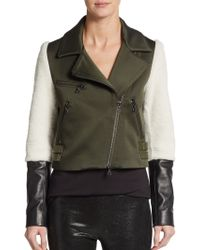 DROMe Mixed Media Leather & Lamb Fur-Paneled Moto Jacket - Lyst