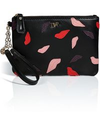 Diane Von Furstenberg Leather Lips Cosmetic Case in Black Multi - Lyst