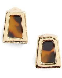 Lauren by Ralph Lauren - Faux Tortoiseshell Stud Earrings - Lyst