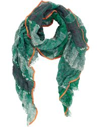 Barneys New York Colorblock Pythonprint Gauzy Scarf - Lyst