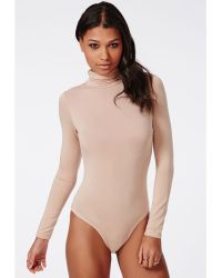 Missguided Long Sleeve Turtle Neck Bodysuit Nude - Lyst