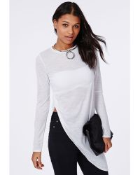 Missguided Soreenah Long Sleeve Asymetric Jersey Top White - Lyst