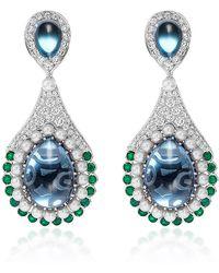 Abellan New York - One Of A Kind Diamond, Emerald, Blue Topaz Earrings - Lyst