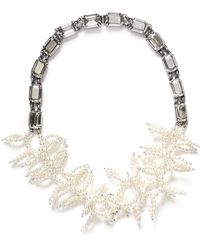 Miriam Haskell Crystal Chain Faux Pearl Coral Spiral Necklace - Lyst