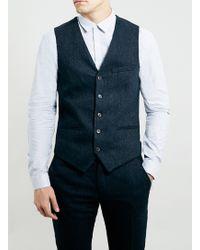 Topman Navy Tweed Suit Waistcoat - Lyst