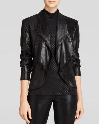 Grayse Faux Leather Drape Collar Jacket - Lyst