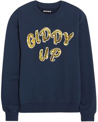House Of Holland Giddy Up Sequined Cottonjersey Sweatshirt - Lyst