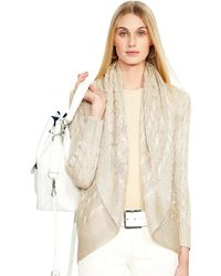 Ralph Lauren Cabled Silk Circle Cardigan - Lyst