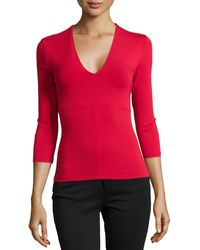 Donna Karan New York V-Neck Top With Built-In Bra - Lyst