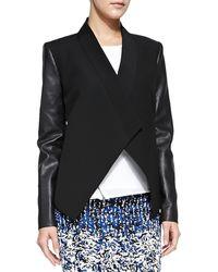 BCBGMAXAZRIA Abree Ponteleather Drape Jacket Black Large - Lyst