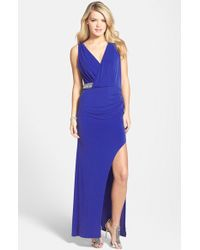 Laundry by Shelli Segal Embellished Wrap-Over Gown - Lyst