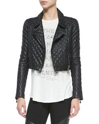 Haute Hippie Cropped Quilted Moto Jacket - Lyst