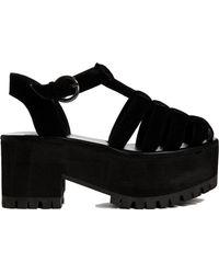 YRU - Charoit Ii Black Chunky Flat Sandals - Lyst