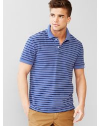 Gap Feeder Stripe Pique Polo blue - Lyst