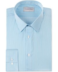 Calvin Klein Platinum Slimfit Aqua Stripe Dress Shirt - Lyst