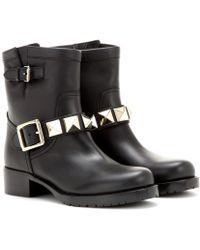 Valentino Lock Leather Biker Boots - Lyst