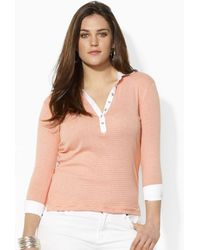 Lauren by Ralph Lauren Orange Threequartersleeved Henley - Lyst
