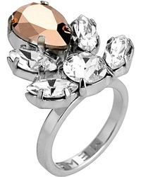 Mews London - Rose Crystal Crest Ring - Lyst
